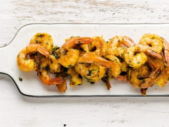 Asian style prawns with ginger and lime